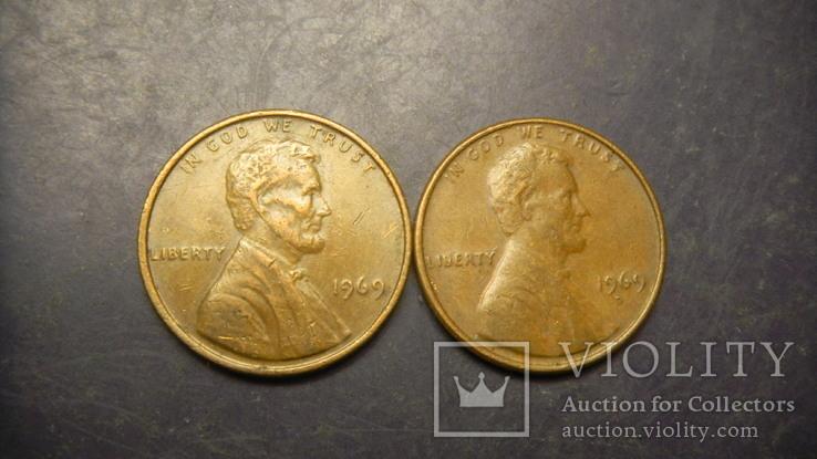 1 цент США 1969 (два різновиди), фото №2