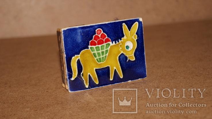 Спичечница на 2 коробка Ослик ,керамика, фото №3