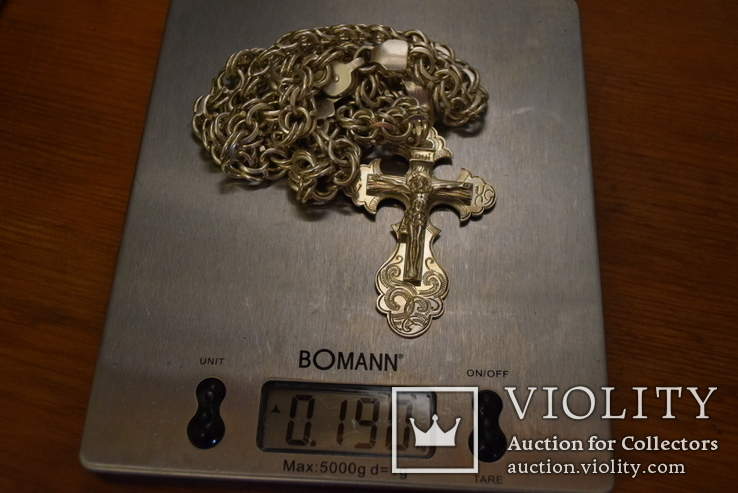 Серебряная цепочка Бисмарк с крестом 190.8 грамм, фото №10
