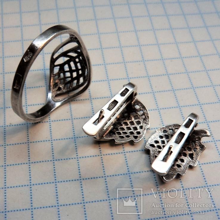 Гарнитур кольцо и серьги. серебро, фото №4