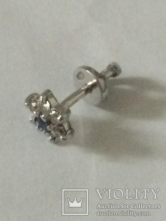 """Одна серёжка """"пусет""""из белого золота 585 пр. бриллианты+сапфир, фото №3"""