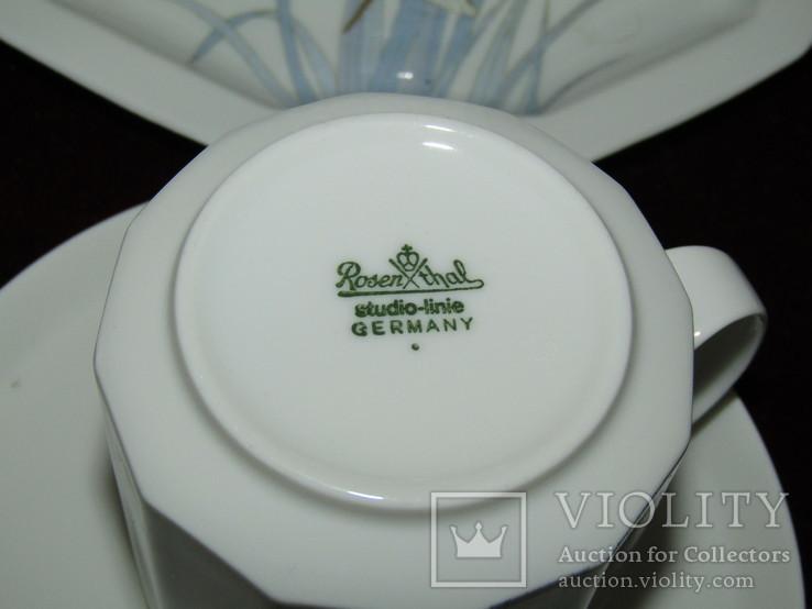 Сервиз чайник блюдца чашки тарелки сахарница тонкий фарфор Rosenthal Розенталь Германия, фото №13