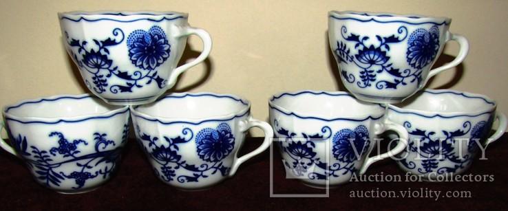 Чашки мейсенский дизайн фарфор синий лук Zwiebelmuster Богемия, фото №2