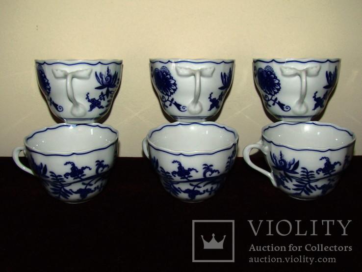 Чашки мейсенский дизайн фарфор синий лук Zwiebelmuster Богемия, фото №3