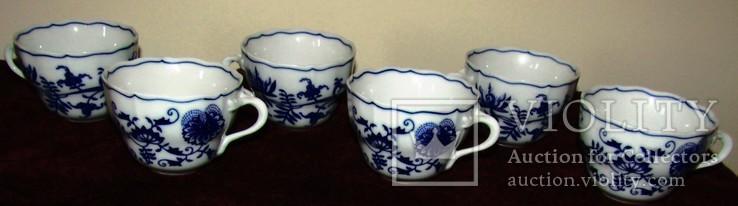 Чашки мейсенский дизайн фарфор синий лук Zwiebelmuster Богемия, фото №5