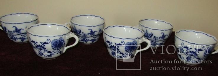 Чашки мейсенский дизайн фарфор синий лук Zwiebelmuster Богемия, фото №6