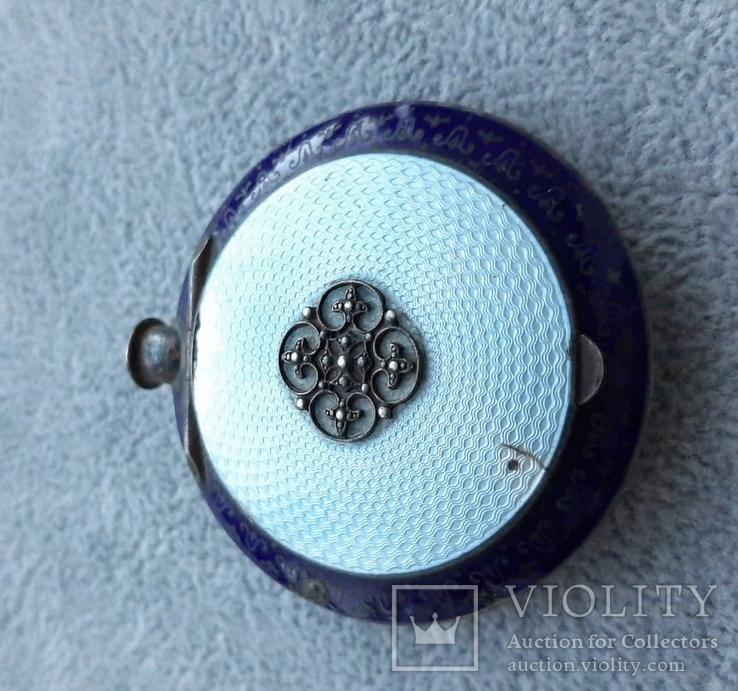 Старинная кокаинница/ таблетница в эмалях (серебро 925 пр, вес 45 гр), фото №4