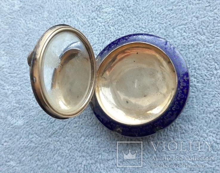 Старинная кокаинница/ таблетница в эмалях (серебро 925 пр, вес 45 гр), фото №6