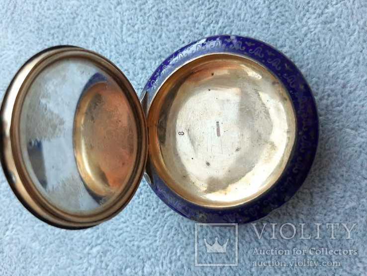 Старинная кокаинница/ таблетница в эмалях (серебро 925 пр, вес 45 гр), фото №8