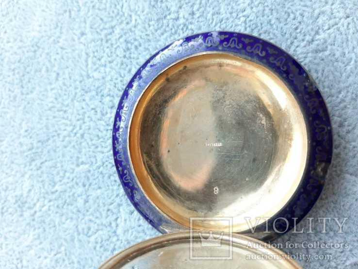 Старинная кокаинница/ таблетница в эмалях (серебро 925 пр, вес 45 гр), фото №9