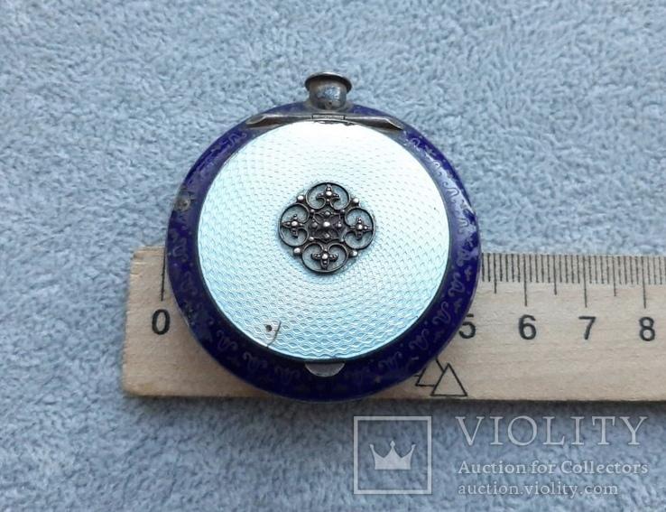 Старинная кокаинница/ таблетница в эмалях (серебро 925 пр, вес 45 гр), фото №10