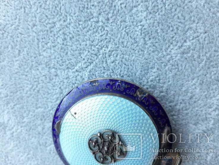 Старинная кокаинница/ таблетница в эмалях (серебро 925 пр, вес 45 гр), фото №11