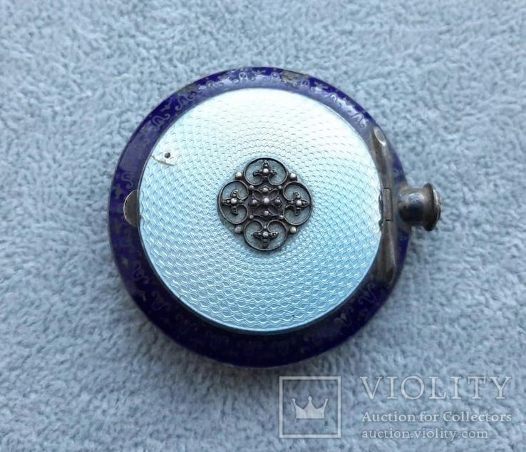 Старинная кокаинница/ таблетница в эмалях (серебро 925 пр, вес 45 гр), фото №2