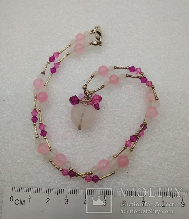 Ожерелье серебро 925 натуральный кварц белый розовый, фото №2