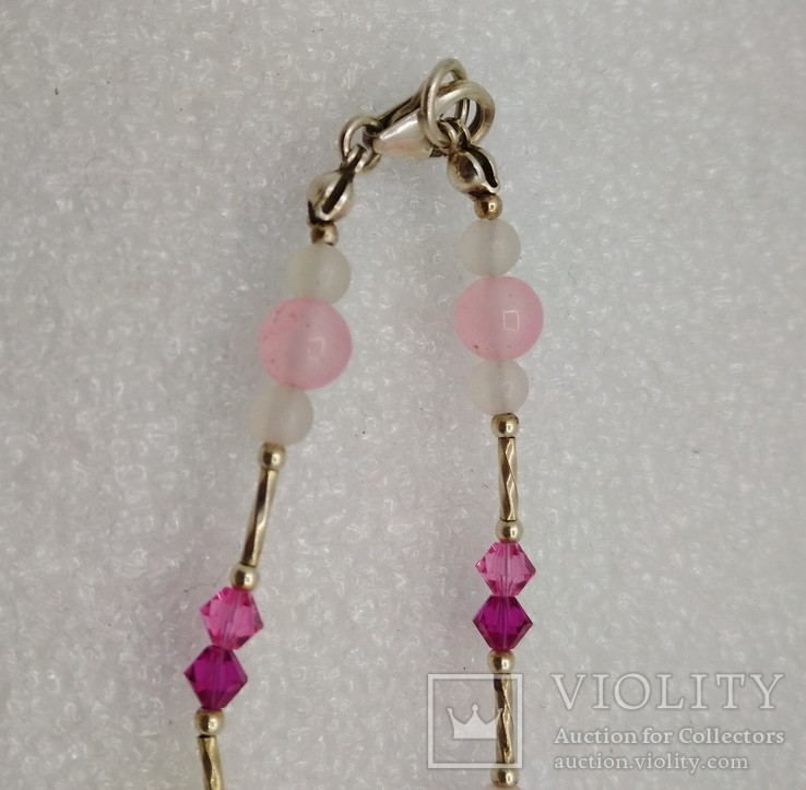 Ожерелье серебро 925 натуральный кварц белый розовый, фото №4