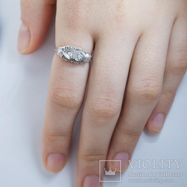 Ажурное золотое кольцо с бриллиантами, фото №4