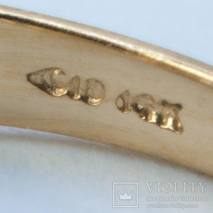 Золотое кольцо с натуральным танзанитом и бриллиантами, фото №4