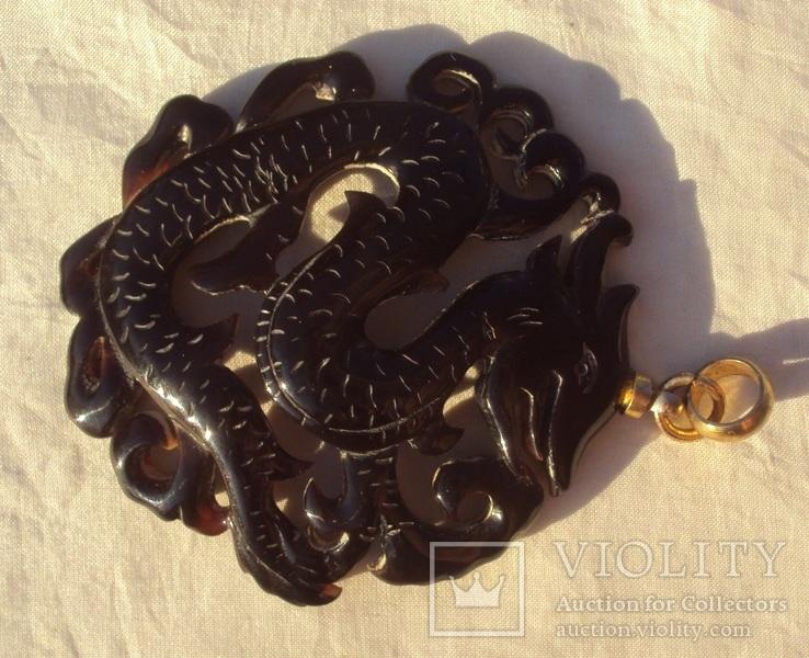 Кулон резной черепаховый панцирь., фото №6