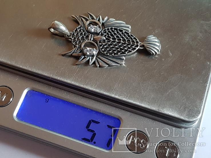 Подвес в виде совы. Серебро 925 проба. Вес 5.7 г, фото №8