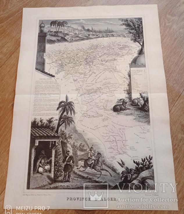 1865 Province D'Alger. Алжир с картушами. 19 век.