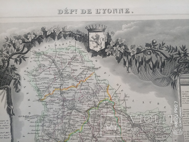 Лион. 19 век. Карта с картушами, фото №7