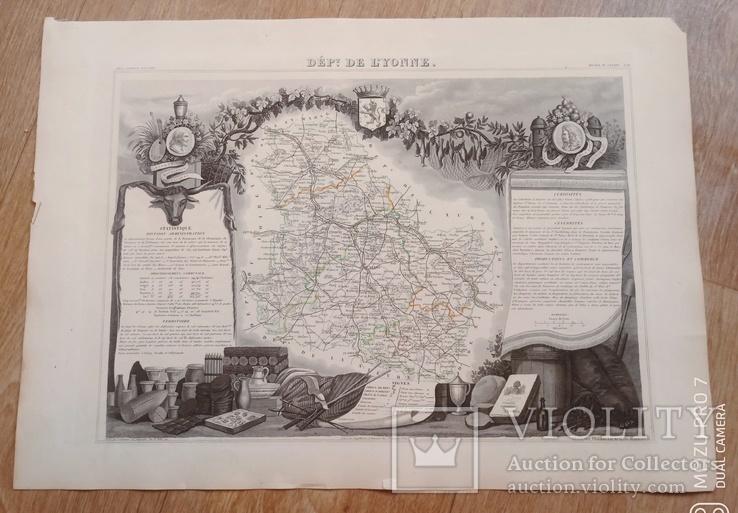 Лион. 19 век. Карта с картушами, фото №2