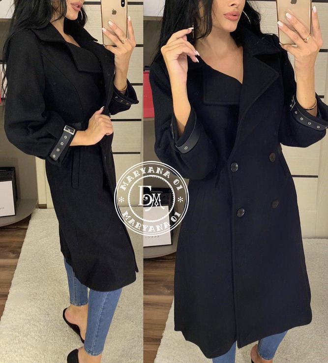 Стильное кашемировое пальто черное 46 размер