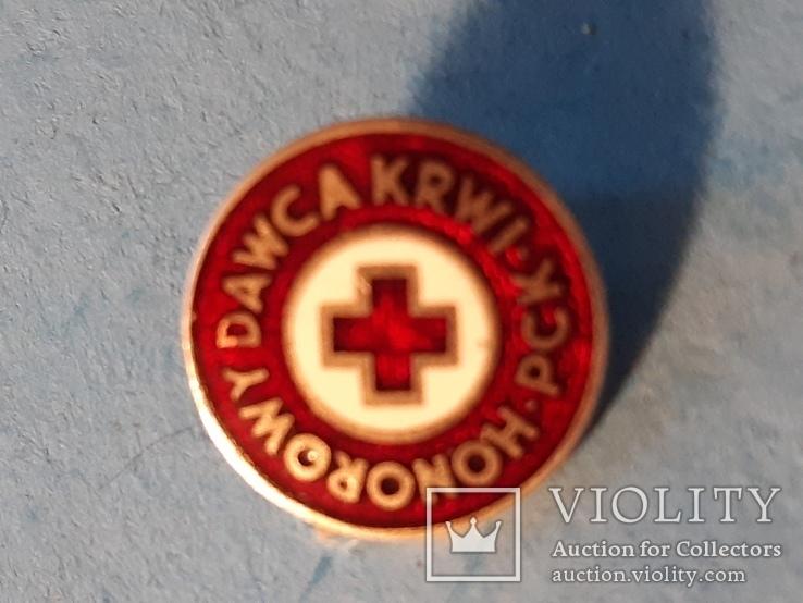 Червоний Хрест.Красный крест.тяжмет,емаль.Старий знак з клеймом.Польща, фото №2