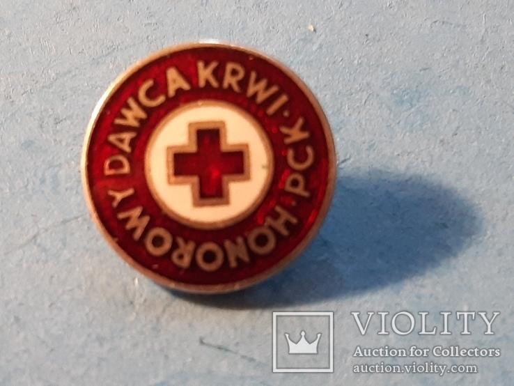 Червоний Хрест.Красный крест.тяжмет,емаль.Старий знак з клеймом.Польща, фото №3