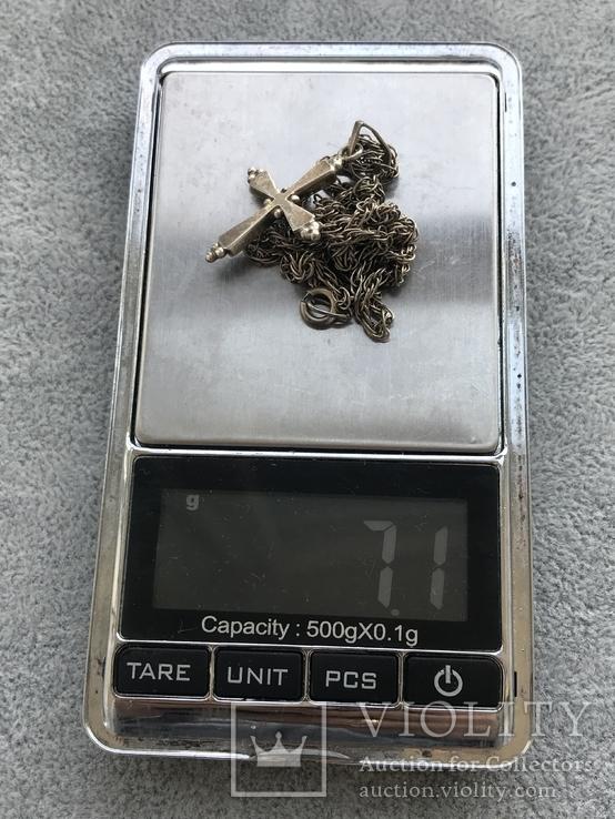 Серебряный крест с перламутром на цепочке (серебро 950 пр, вес 7 гр), фото №9