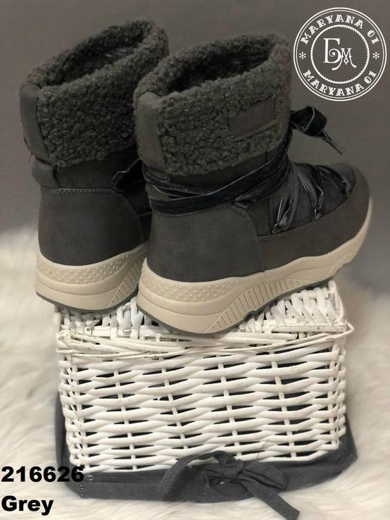 Серые зимние ботинки, полусапожки, угги на меху 37 размер, фото №4