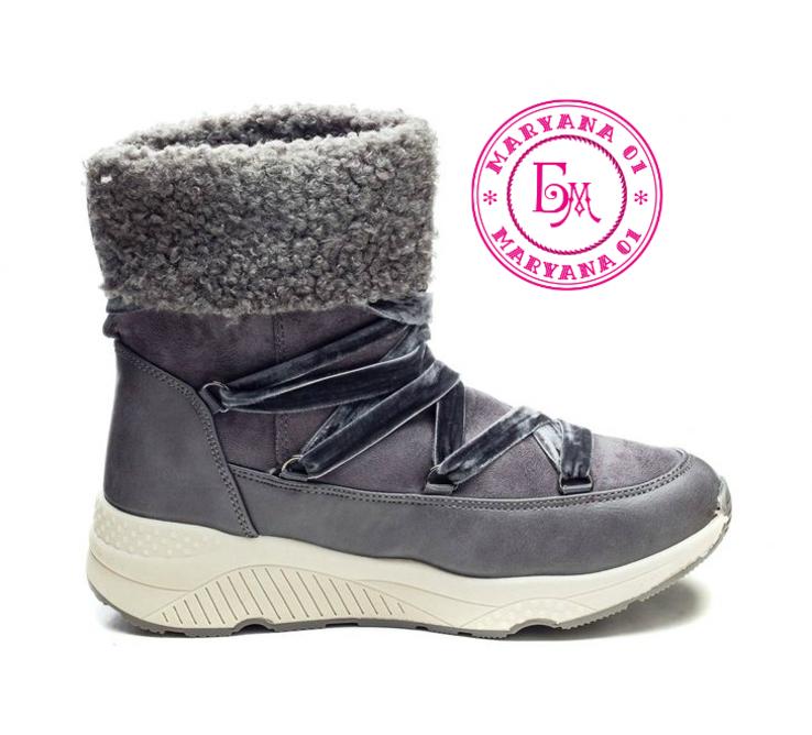 Серые зимние ботинки, полусапожки, угги на меху 37 размер, фото №9