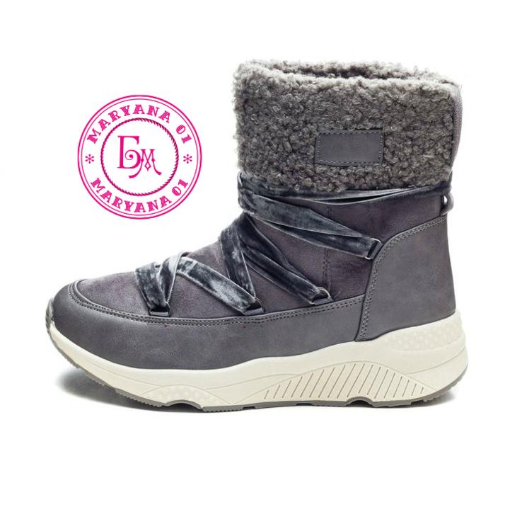 Серые зимние ботинки, полусапожки, угги на меху 37 размер, фото №10