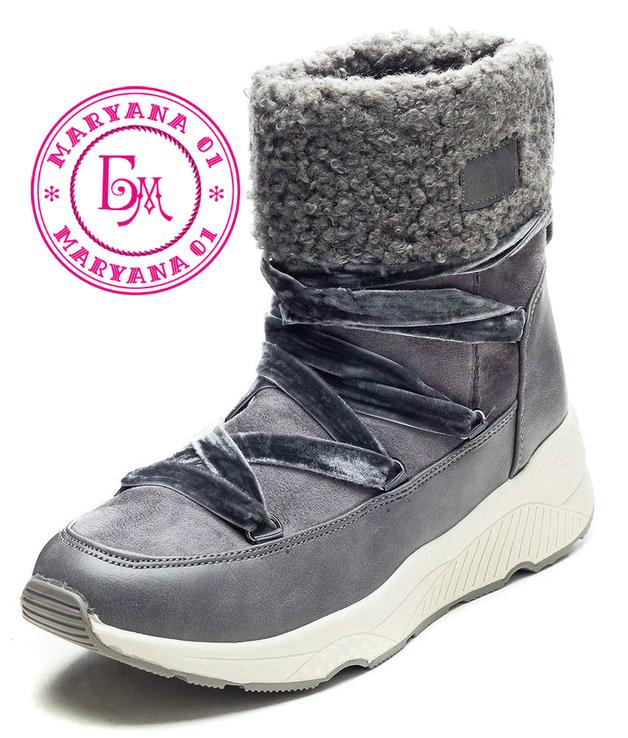 Серые зимние ботинки, полусапожки, угги на меху 37 размер, фото №2