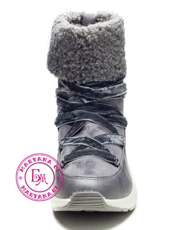 Серые зимние ботинки, полусапожки, угги на меху 37 размер, фото №12