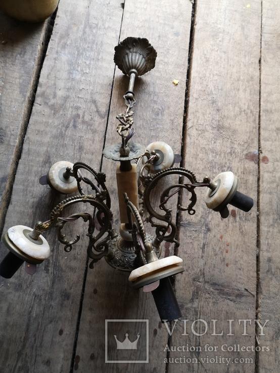 Люстра бронза мрамор гранит винтаж СССР, фото №3