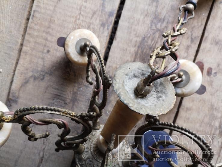 Люстра бронза мрамор гранит винтаж СССР, фото №11