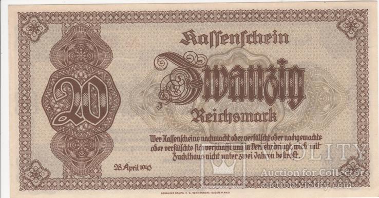 20 марок 28 апреля 1945 для Нижней Силезии и Богемии., фото №2