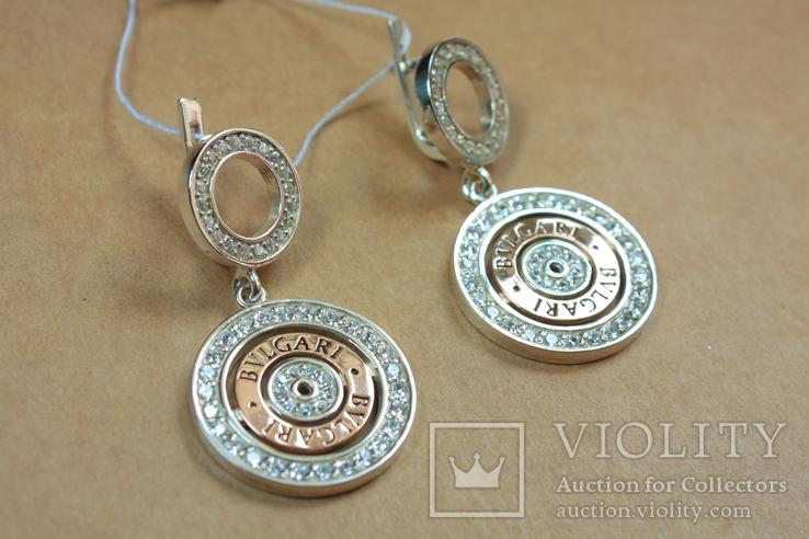 Серьги BVLGARI (Булгари) серебро, золото, фото №2