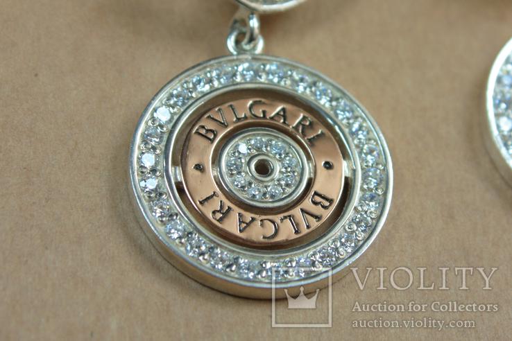 Серьги BVLGARI (Булгари) серебро, золото, фото №7