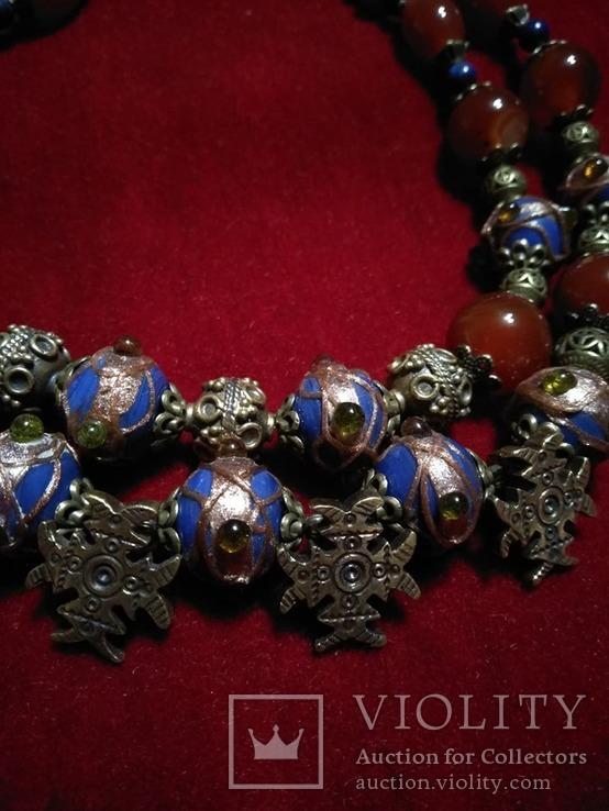 Намисто з венеційськими намистинками та сердоліку .Гуцульські хрестики, фото №3