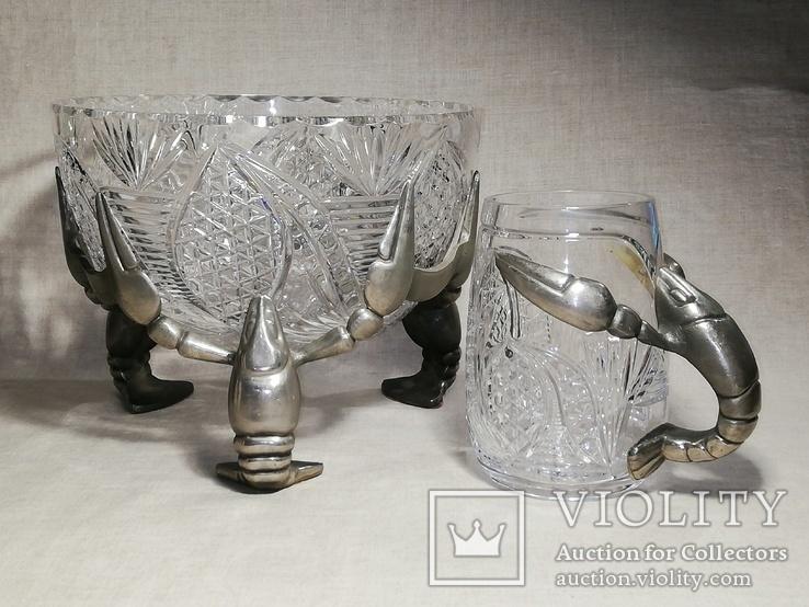 Пивной бокал - кружка с раком, и ваза хрусталь для раков, фото №2