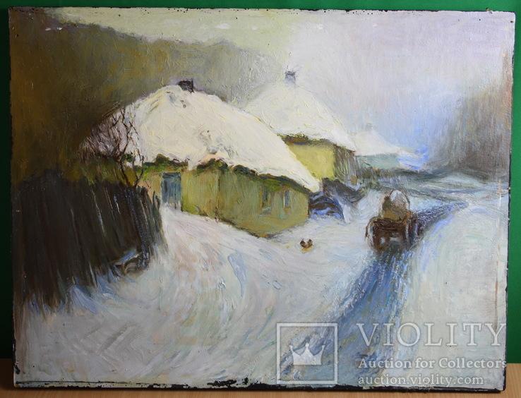 Зимний сельский пейзаж 67х51