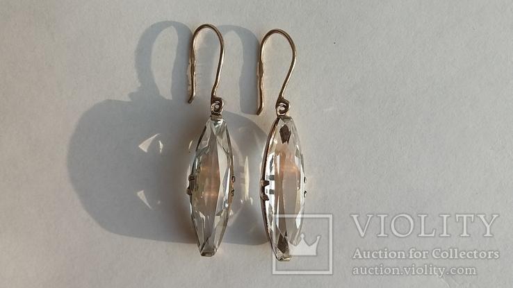 Серебряные серьги с горным хрусталем  СССР, фото №2