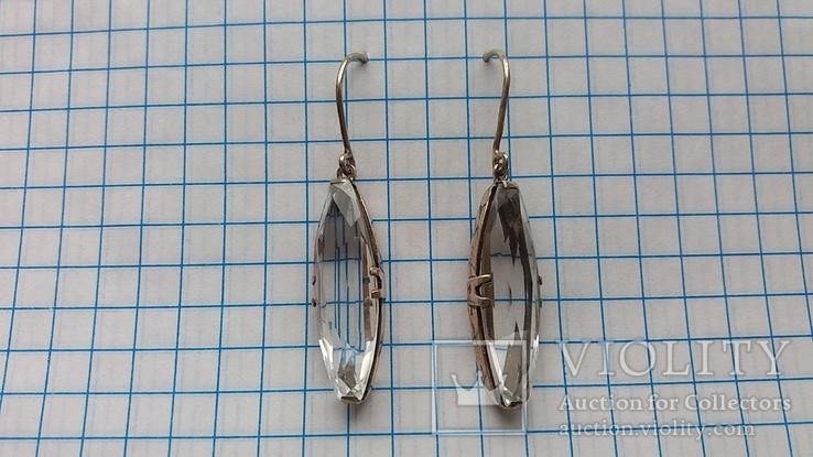 Серебряные серьги с горным хрусталем  СССР, фото №3