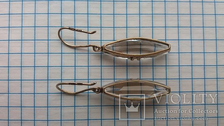 Серебряные серьги с горным хрусталем  СССР, фото №5