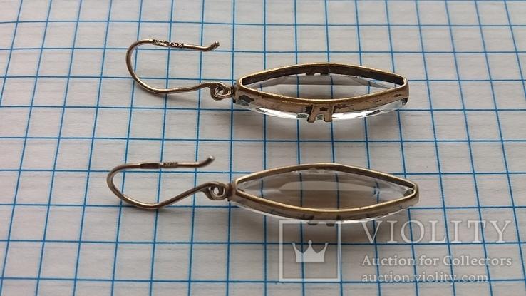 Серебряные серьги с горным хрусталем  СССР, фото №6