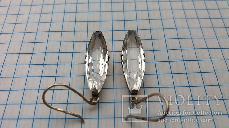 Серебряные серьги с горным хрусталем  СССР, фото №9