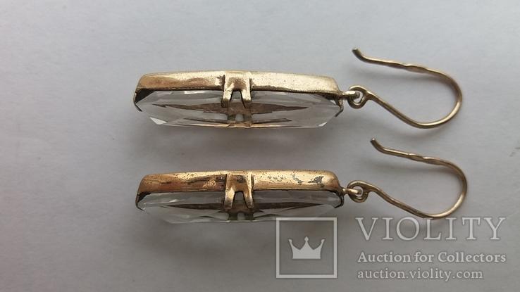 Серебряные серьги с горным хрусталем  СССР, фото №13