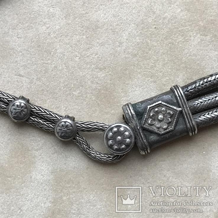 Старинное серебреное колье 135 грамм в этно стиле, фото №5